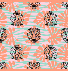 tiger heads and stripes seamless pattern vector image