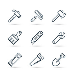 tools line icons pack for construction vector image