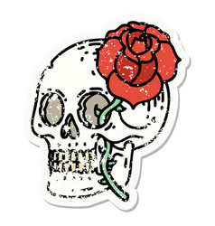 Traditional distressed sticker tattoo a skull vector