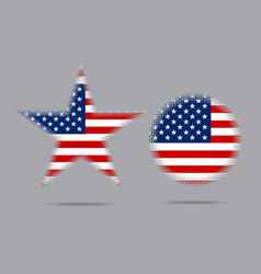 usa flag star halftone effect style isolated vector image