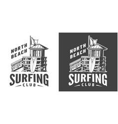 vintage surfing club print vector image
