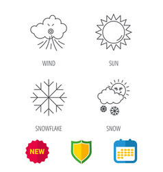 Weather sun and snow icons vector
