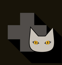 Web line icon veterinary medicine icon cat and vector