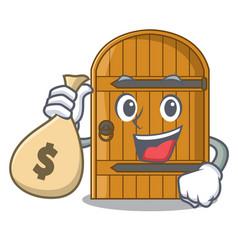 with money bag cartoon wooden door massive closed vector image