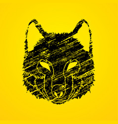 Wolf face front view fox mask vector