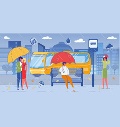 young loving couple romantic date under rain vector image