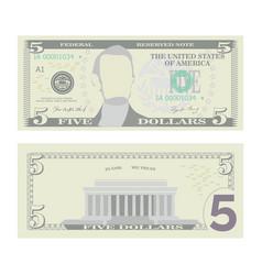 5 dollars banknote cartoon us currency vector image vector image