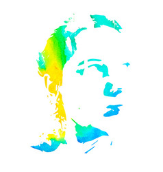 watercolor silhouette woman vector image