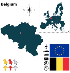 Belgium and European Union map vector image vector image
