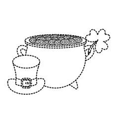 irish pot with hat and clover vector image