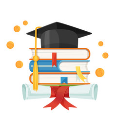 mortarboard cap on piles of textbooks and diploma vector image vector image