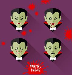 set of vampire emojis for halloween vector image