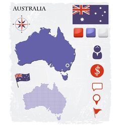 Australia map icons and buttons set vector image vector image