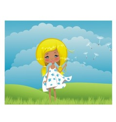 Girl on to the meadow vector image vector image
