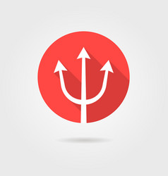 red trident icon with long shadow vector image vector image