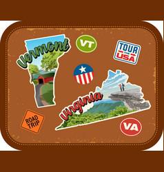 vermont virginia travel stickers vector image vector image