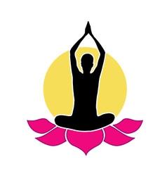 Yogi meditating on abstract lotus vector image