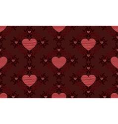 Dark red hearts pattern vector image