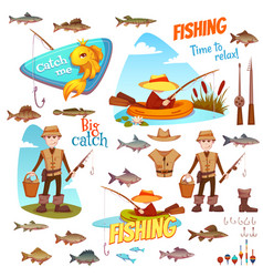 different fish and fisherman vector image vector image