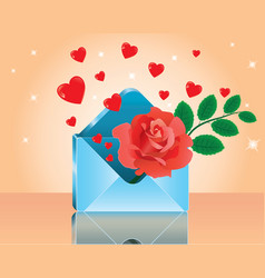 red rose in love romantic envelope vector image