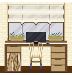 with home workplace in flat vector image vector image