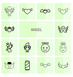 14 angel icons vector
