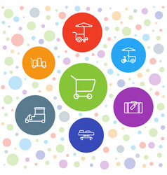 7 trolley icons vector