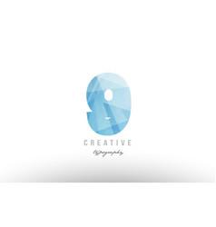 9 blue polygonal number logo icon design vector image