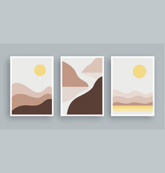 abstract landscapes mountains wall art painting vector image