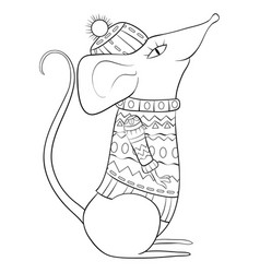 adult coloring bookpage a christmas mouse vector image