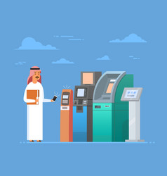Arab man using atm machine cell smart phone mobile vector