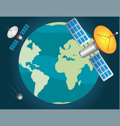 Artificial satellites fly around planet vector