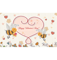 Bees with hearts vector