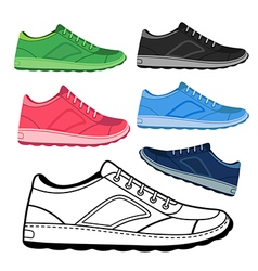 Black outlined colored sneakers shoes vector image