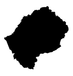 black silhouette country borders map of lesotho vector image