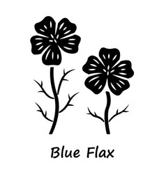Blue flax plant glyph icon linen wild flower with vector
