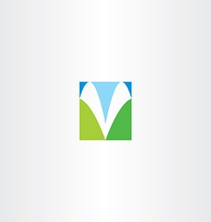 blue green v letter icon symbol vector image