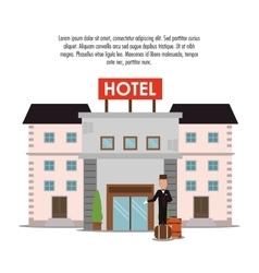 Building bellboy baggage hotel icon vector