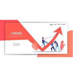 Businesspeople team pushing arrow graph up growth vector
