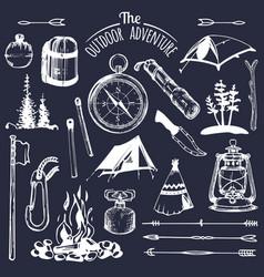 Camping sketched elements set of vintage vector