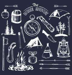 camping sketched elements set vintage vector image