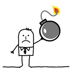 Cartoon character - businessman and bomb vector