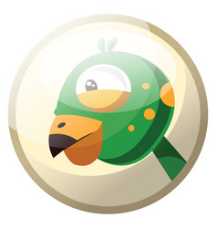 cartoon character of a green bird head with vector image