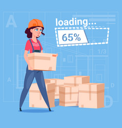 cartoon woman builder carry boxes over abstract vector image