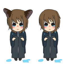 cat ears girl crying hug knees vector image