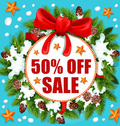 christmas and new year holidays sale banner design vector image
