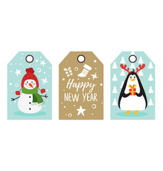 christmas and new year tags vector image
