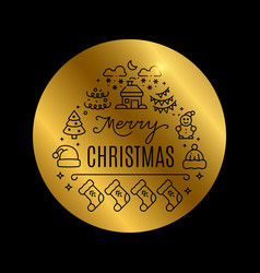 Christmas golden banner with shine effect vector