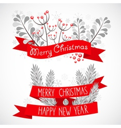 Christmas greeting banner with decorative elements vector