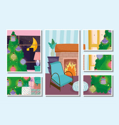 christmas tree home cards set decoration chair vector image